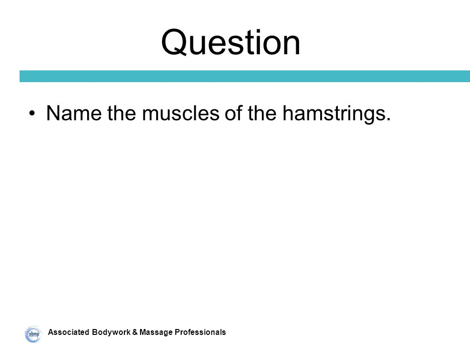 Associated Bodywork & Massage Professionals Question Name the muscles of the hamstrings.