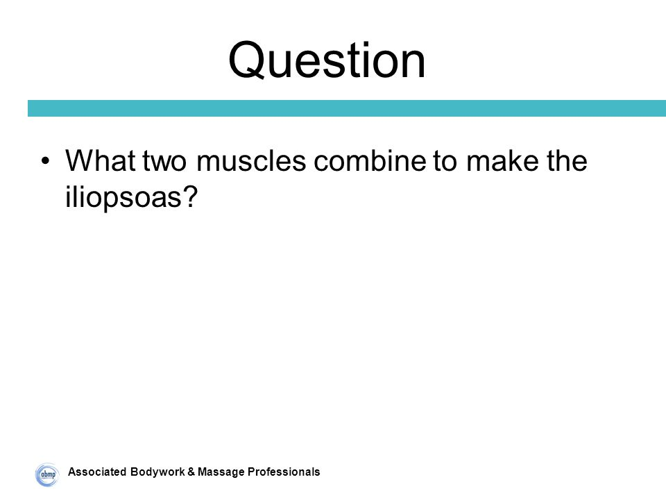 Associated Bodywork & Massage Professionals Question What two muscles combine to make the iliopsoas