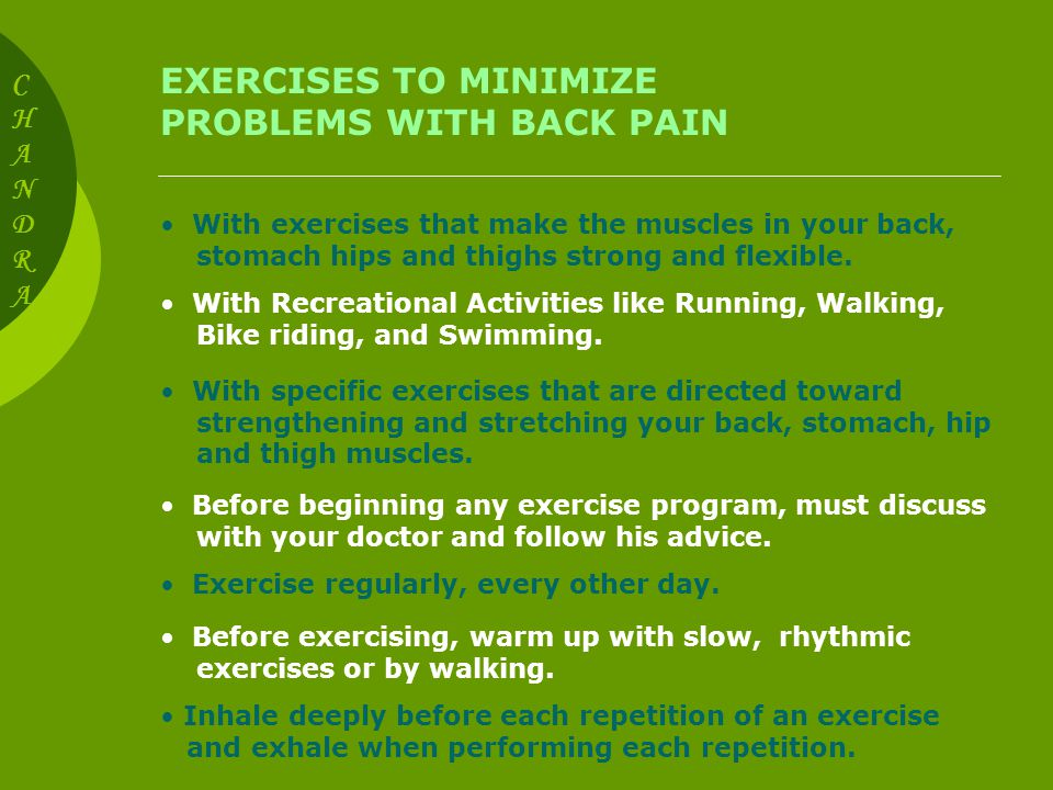 Exercises To Minimize Problems With Back Pain With Exercises That