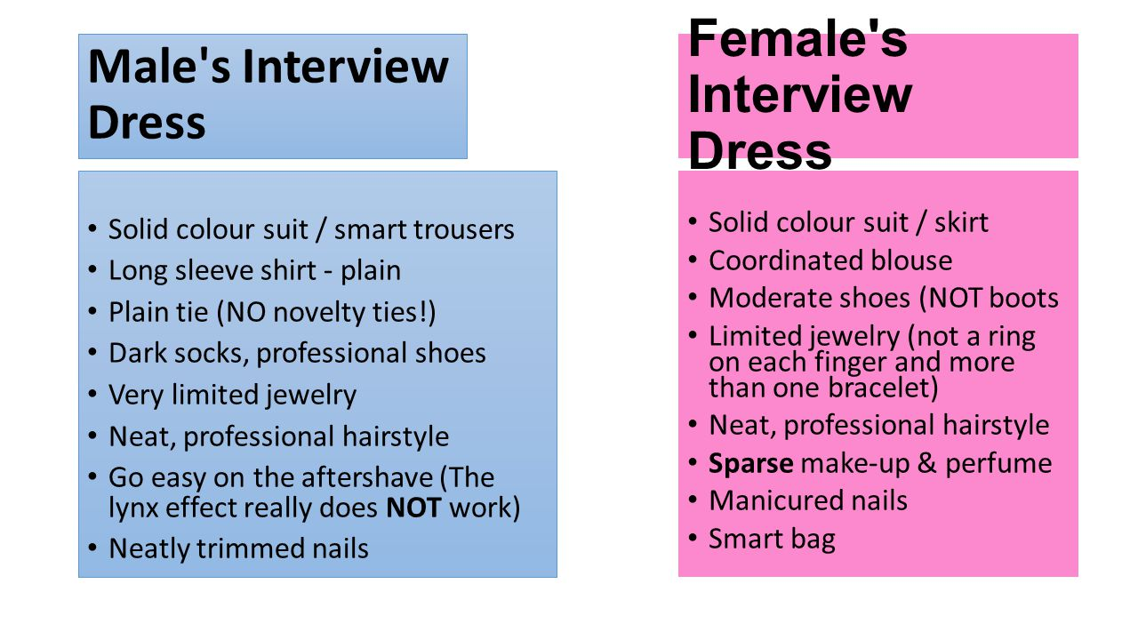 Male s Interview Dress Solid colour suit / smart trousers Long sleeve shirt - plain Plain tie (NO novelty ties!) Dark socks, professional shoes Very limited jewelry Neat, professional hairstyle Go easy on the aftershave (The lynx effect really does NOT work) Neatly trimmed nails Female s Interview Dress Solid colour suit / skirt Coordinated blouse Moderate shoes (NOT boots Limited jewelry (not a ring on each finger and more than one bracelet) Neat, professional hairstyle Sparse make-up & perfume Manicured nails Smart bag