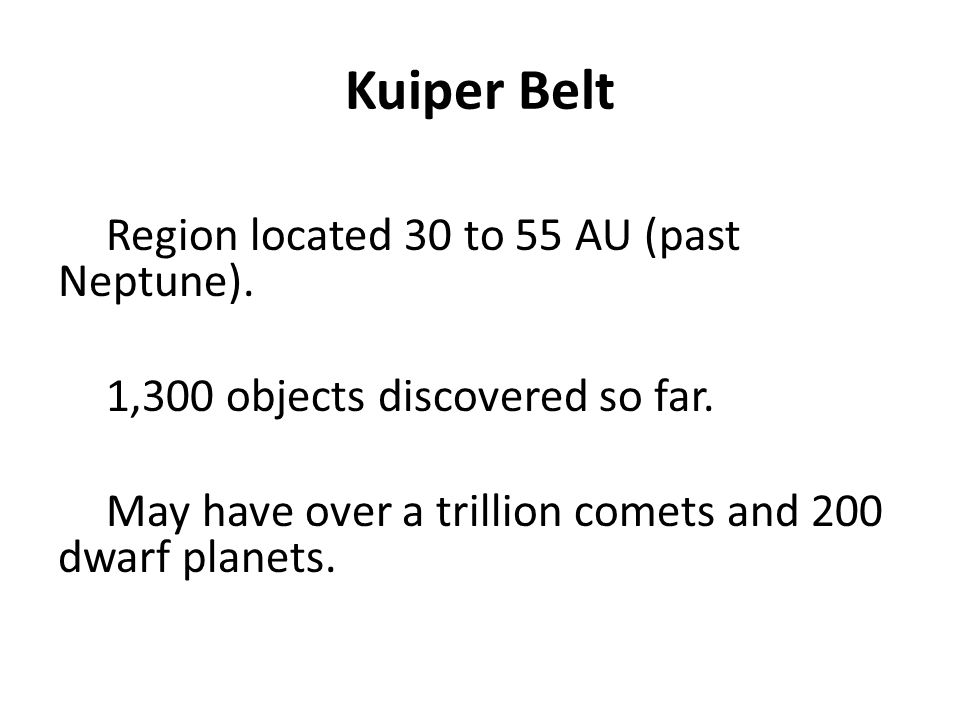 Kuiper Belt Region located 30 to 55 AU (past Neptune).