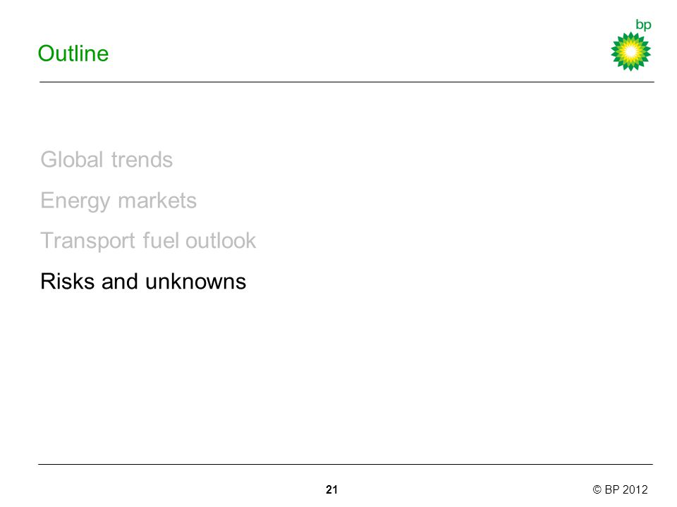 © BP 2012 Outline Global trends Energy markets Transport fuel outlook Risks and unknowns 21