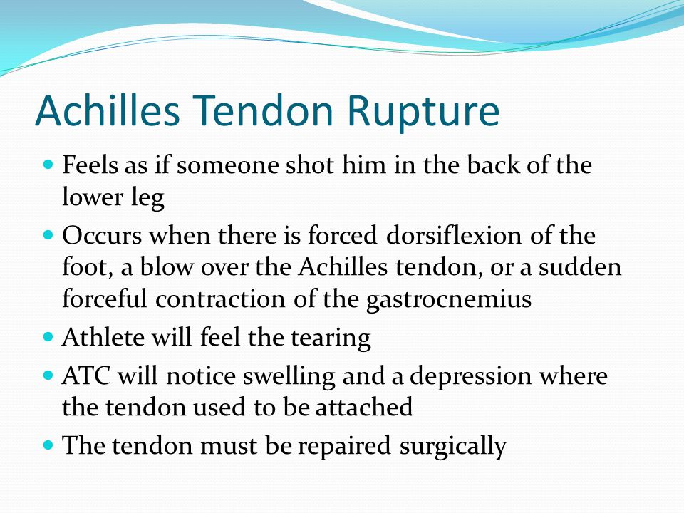 Achilles Tendon Rupture Feels as if someone shot him in the back of the lower leg Occurs when there is forced dorsiflexion of the foot, a blow over the Achilles tendon, or a sudden forceful contraction of the gastrocnemius Athlete will feel the tearing ATC will notice swelling and a depression where the tendon used to be attached The tendon must be repaired surgically