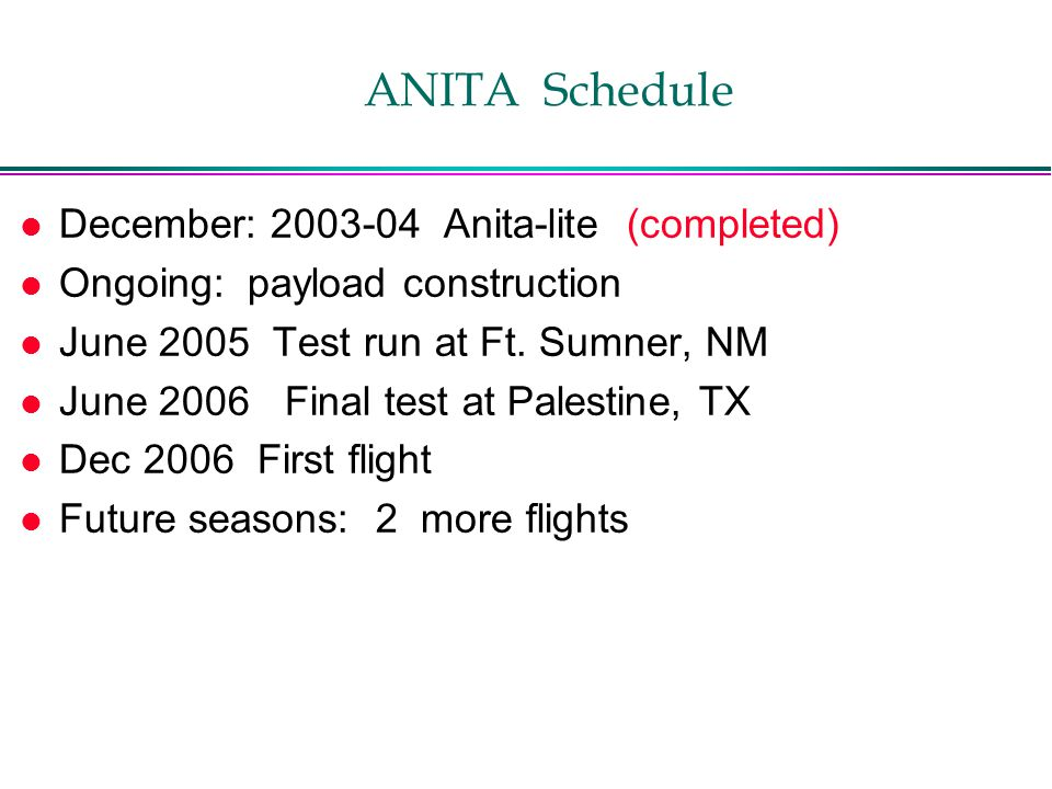 ANITA Schedule l December: Anita-lite (completed) l Ongoing: payload construction l June 2005 Test run at Ft.