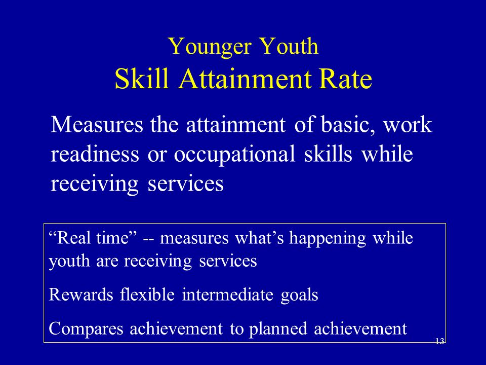 13 Younger Youth Skill Attainment Rate Measures the attainment of basic, work readiness or occupational skills while receiving services Real time -- measures what's happening while youth are receiving services Rewards flexible intermediate goals Compares achievement to planned achievement
