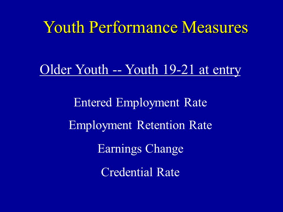 Youth Performance Measures Older Youth -- Youth at entry Entered Employment Rate Employment Retention Rate Earnings Change Credential Rate
