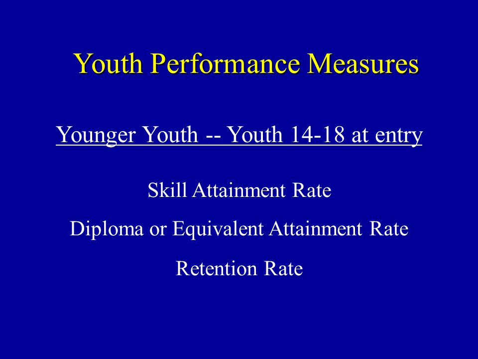 Youth Performance Measures Younger Youth -- Youth at entry Skill Attainment Rate Diploma or Equivalent Attainment Rate Retention Rate