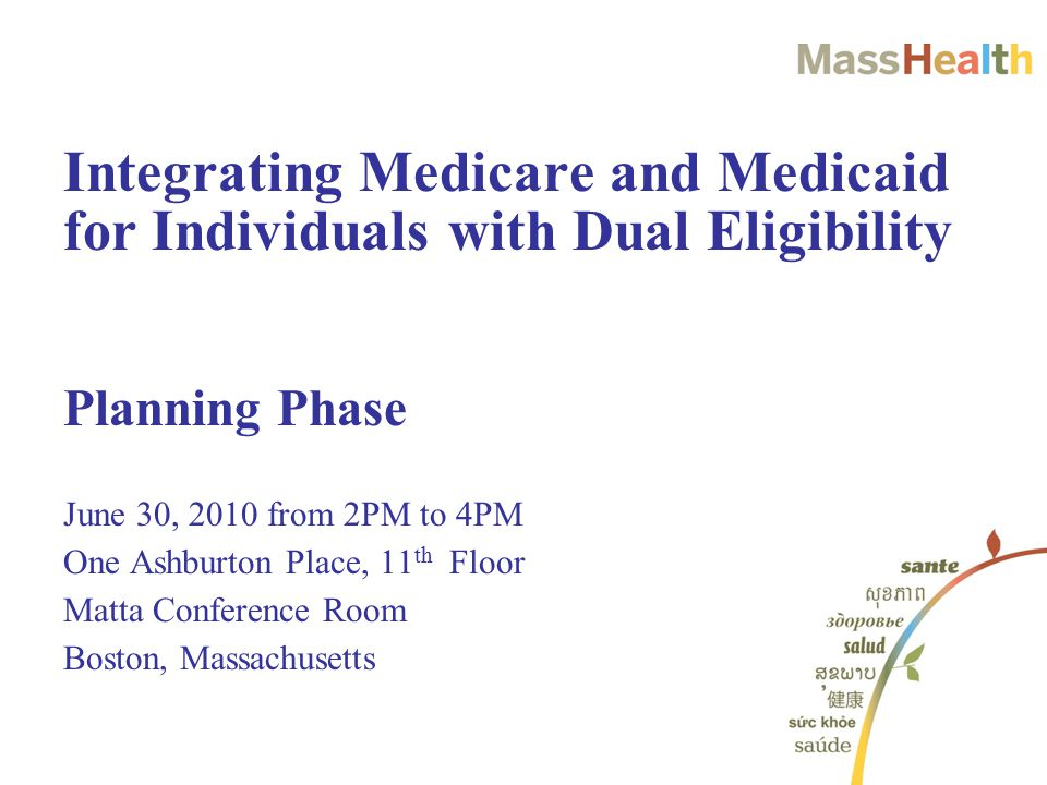 Planning Phase June 30, 2010 from 2PM to 4PM One Ashburton Place, 11 th Floor Matta Conference Room Boston, Massachusetts Integrating Medicare and Medicaid for Individuals with Dual Eligibility