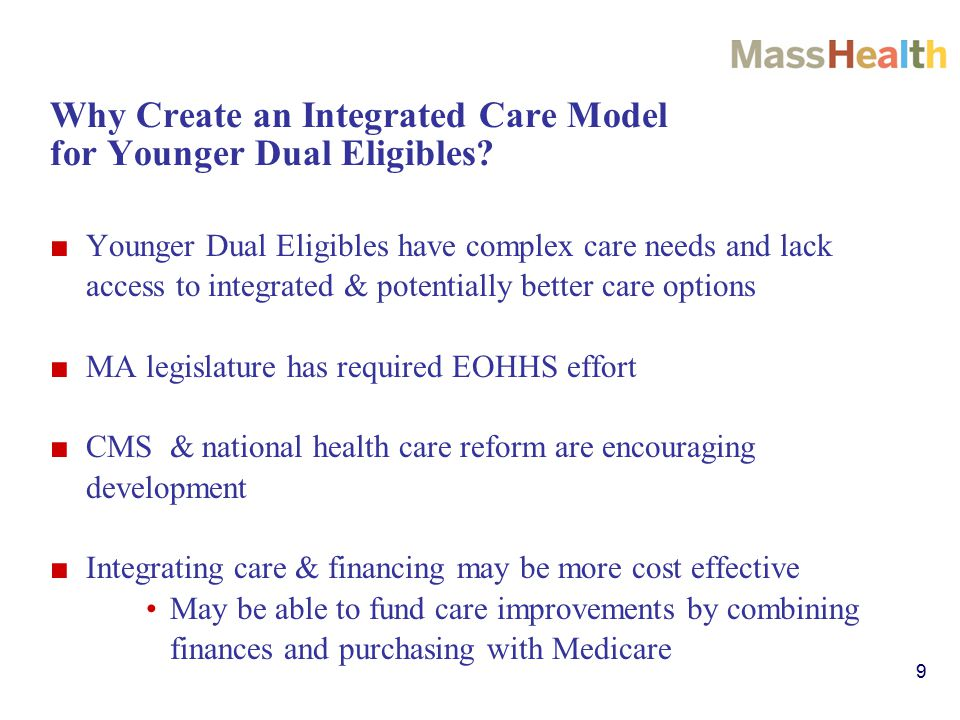 9 Why Create an Integrated Care Model for Younger Dual Eligibles.
