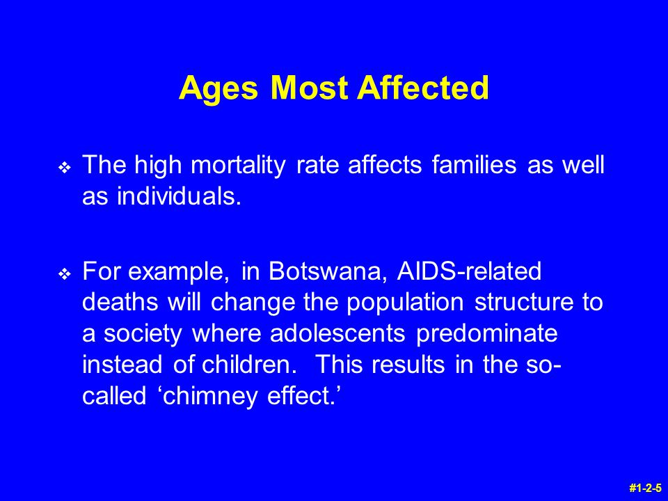 Ages Most Affected v The high mortality rate affects families as well as individuals.