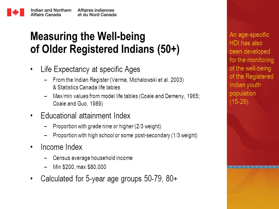 Measuring the Well-being of Older Registered Indians (50+) Life Expectancy at specific Ages –From the Indian Register (Verma, Michalowski et al.