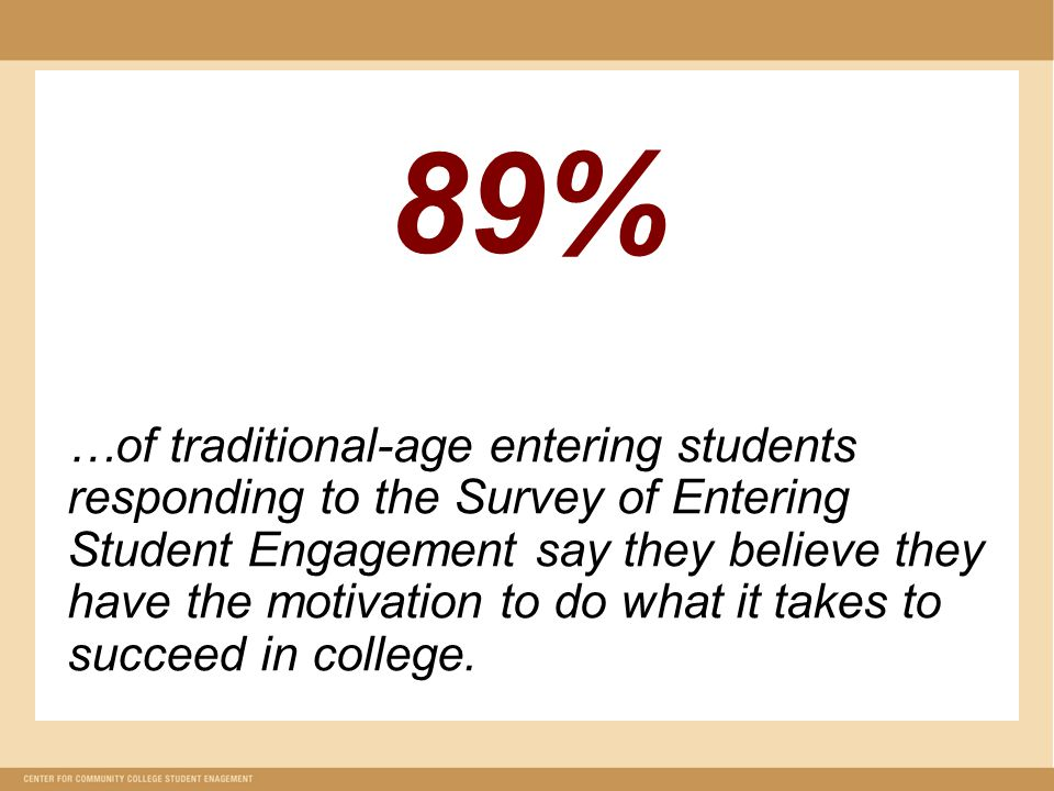 89% …of traditional-age entering students responding to the Survey of Entering Student Engagement say they believe they have the motivation to do what it takes to succeed in college.