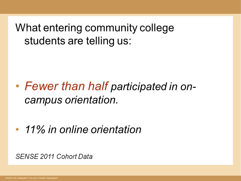 What entering community college students are telling us: Fewer than half participated in on- campus orientation.