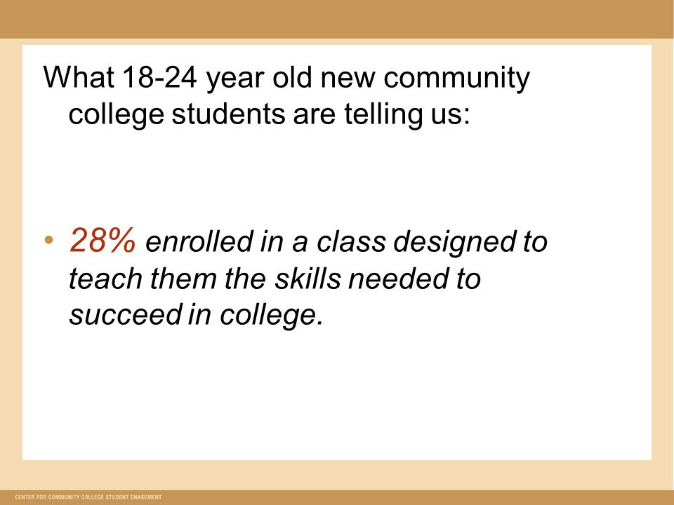 What year old new community college students are telling us: 28% enrolled in a class designed to teach them the skills needed to succeed in college.