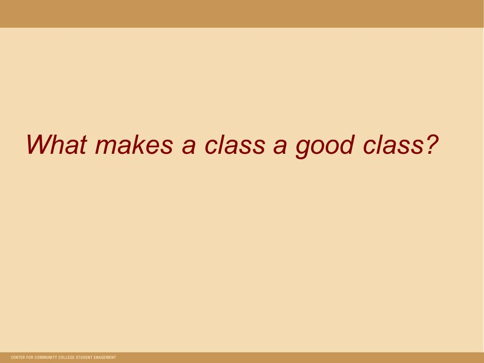 What makes a class a good class