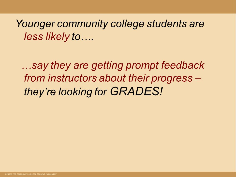 Younger community college students are less likely to….