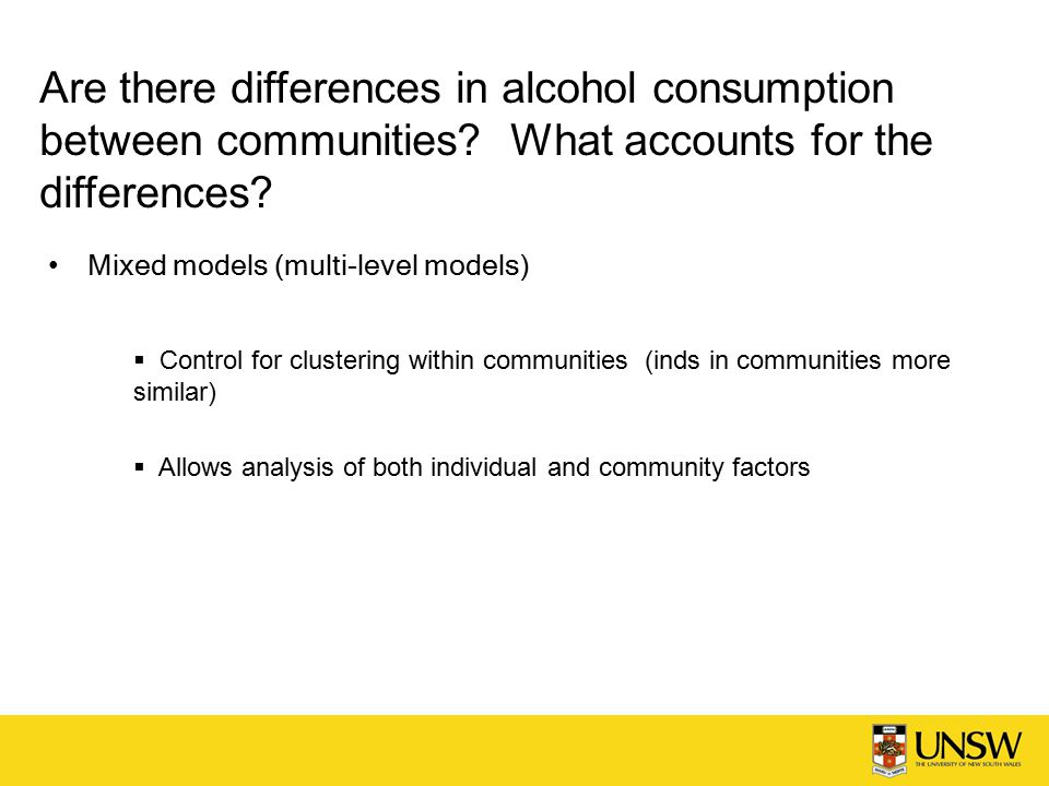 Are there differences in alcohol consumption between communities.