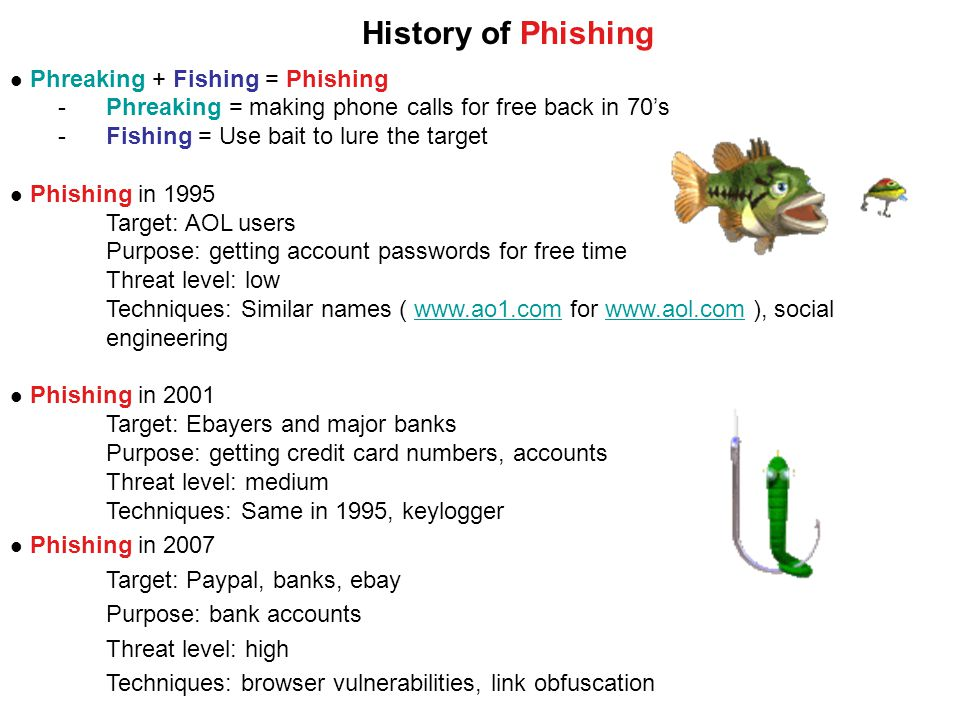Phreaking + Fishing = Phishing -Phreaking = making phone calls for free back in 70's -Fishing = Use bait to lure the target Phishing in 1995 Target: AOL users Purpose: getting account passwords for free time Threat level: low Techniques: Similar names (   for   ), socialwww.ao1.comwww.aol.com engineering Phishing in 2001 Target: Ebayers and major banks Purpose: getting credit card numbers, accounts Threat level: medium Techniques: Same in 1995, keylogger Phishing in 2007 Target: Paypal, banks, ebay Purpose: bank accounts Threat level: high Techniques: browser vulnerabilities, link obfuscation History of Phishing