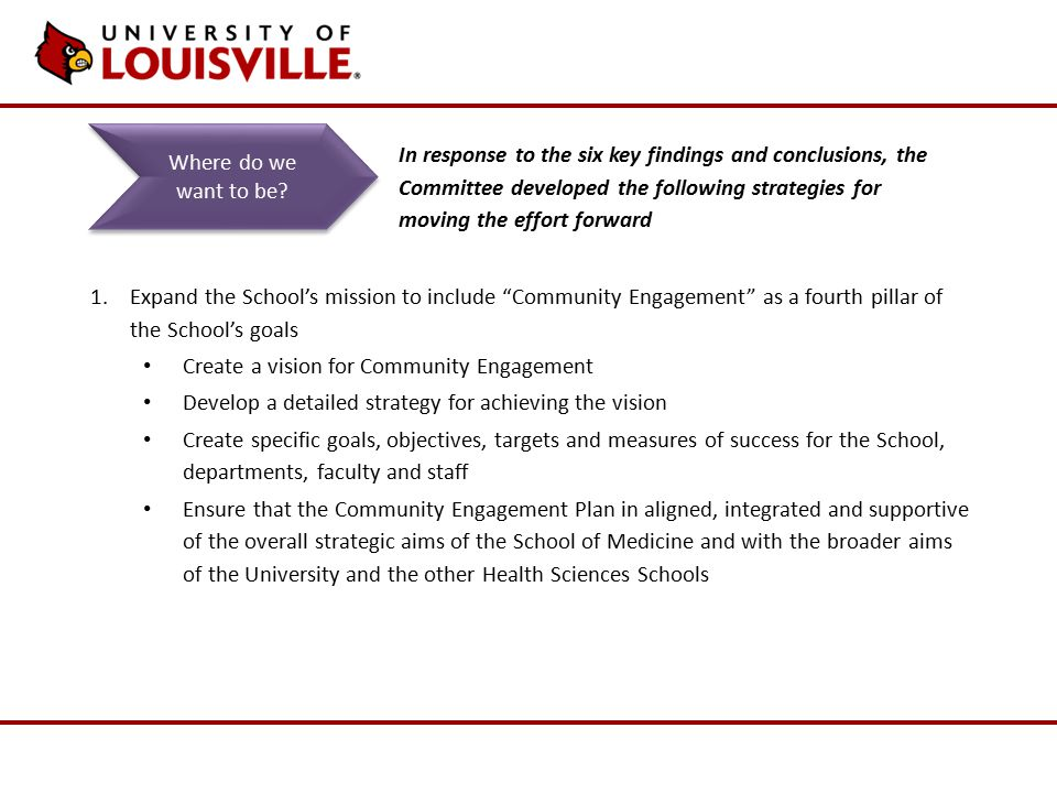 1.Expand the School's mission to include Community Engagement as a fourth pillar of the School's goals Create a vision for Community Engagement Develop a detailed strategy for achieving the vision Create specific goals, objectives, targets and measures of success for the School, departments, faculty and staff Ensure that the Community Engagement Plan in aligned, integrated and supportive of the overall strategic aims of the School of Medicine and with the broader aims of the University and the other Health Sciences Schools Where do we want to be.