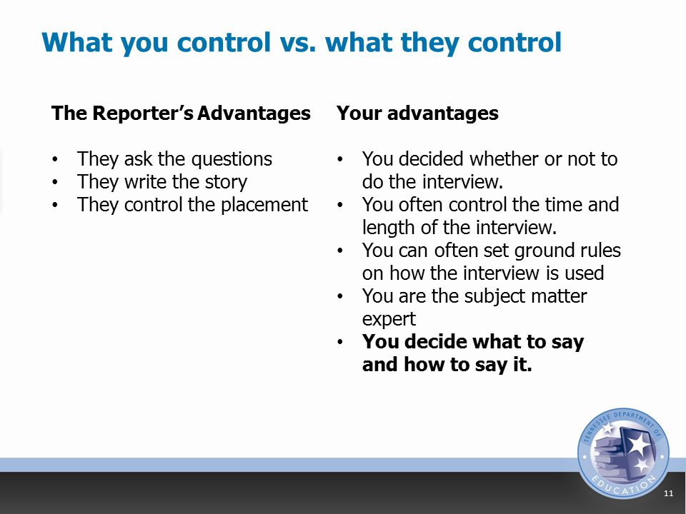 What you control vs.