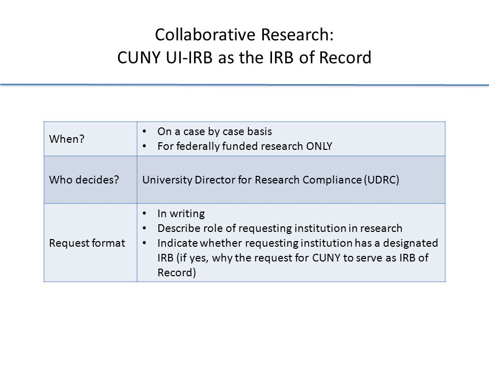 Collaborative Research: CUNY UI-IRB as the IRB of Record When.