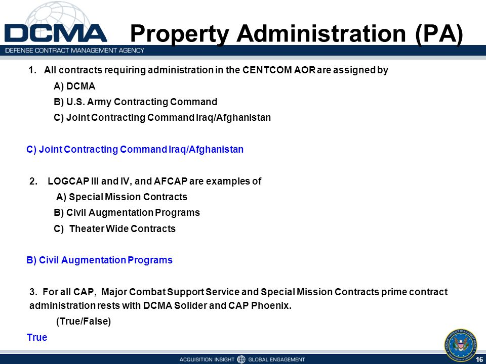 Property Administration (PA) Types of Contracts Assigned in