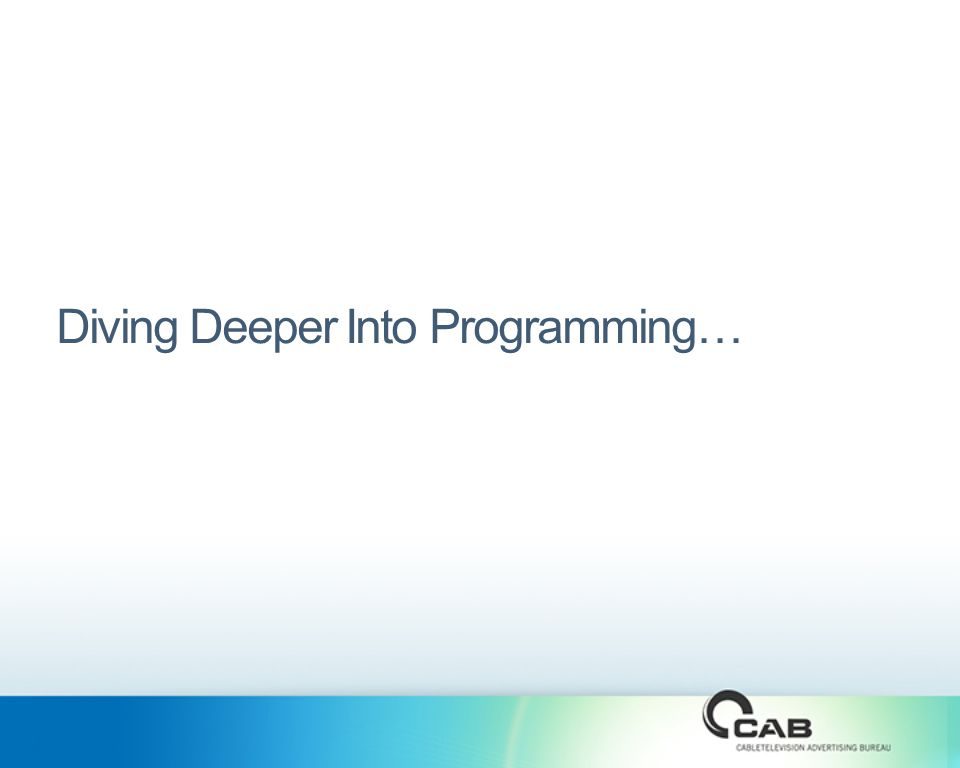 Diving Deeper Into Programming…