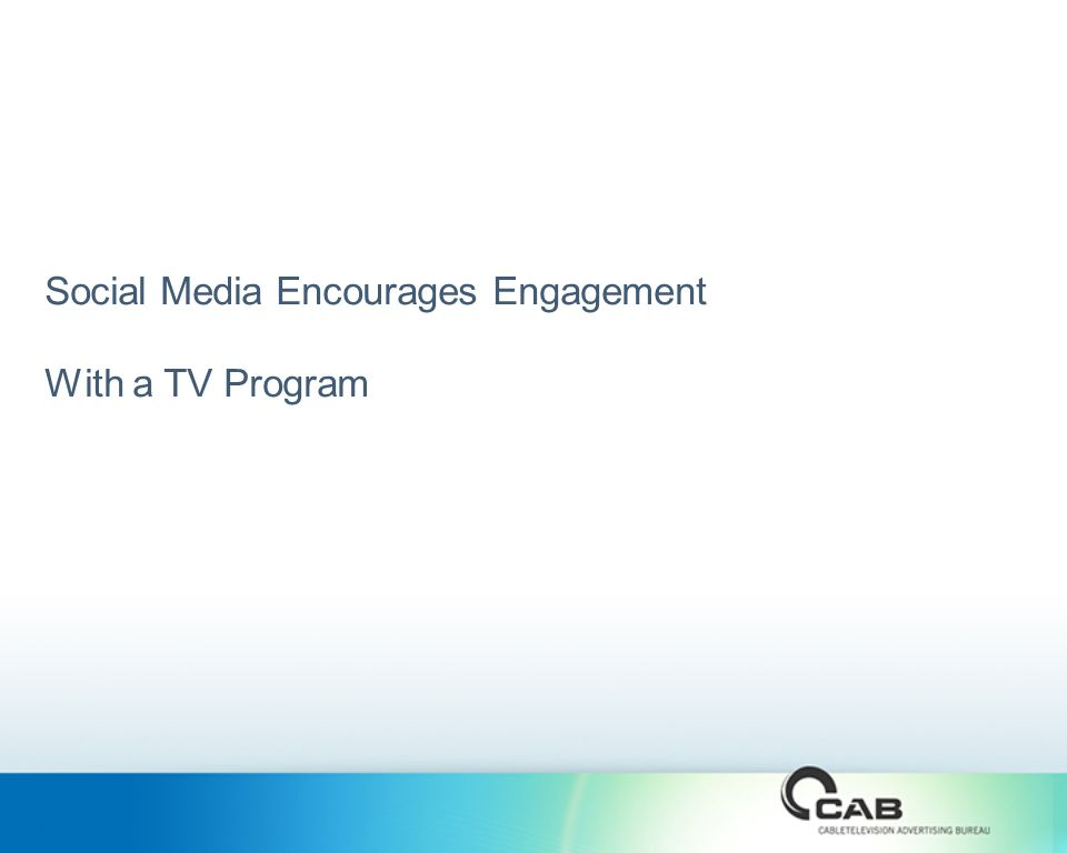 Social Media Encourages Engagement With a TV Program