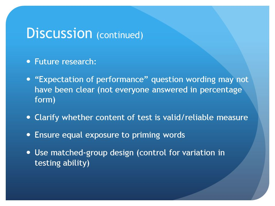 Discussion (continued) Future research: Expectation of performance question wording may not have been clear (not everyone answered in percentage form) Clarify whether content of test is valid/reliable measure Ensure equal exposure to priming words Use matched-group design (control for variation in testing ability)