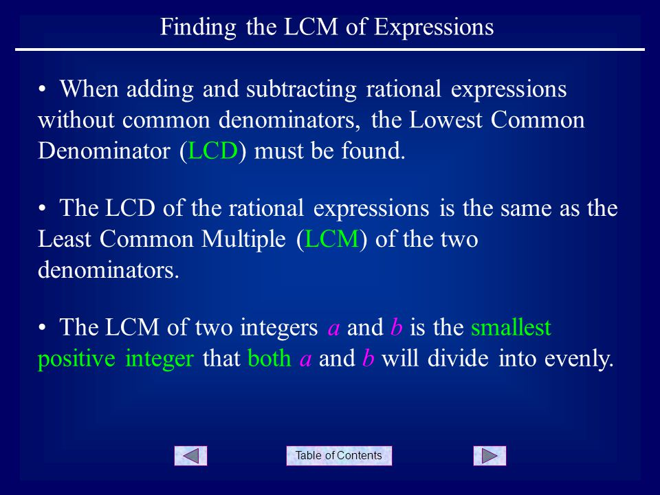Table Of Contents Finding The Lcm Of Expressions The Lcd Of The