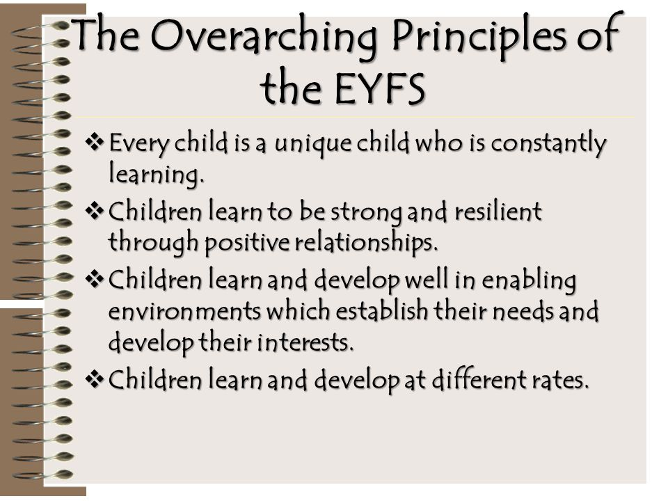 The Overarching Principles of the EYFS  Every child is a unique child who is constantly learning.