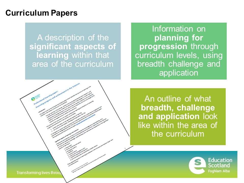 Transforming lives through learning Curriculum Papers A description of the significant aspects of learning within that area of the curriculum Information on planning for progression through curriculum levels, using breadth challenge and application An outline of what breadth, challenge and application look like within the area of the curriculum