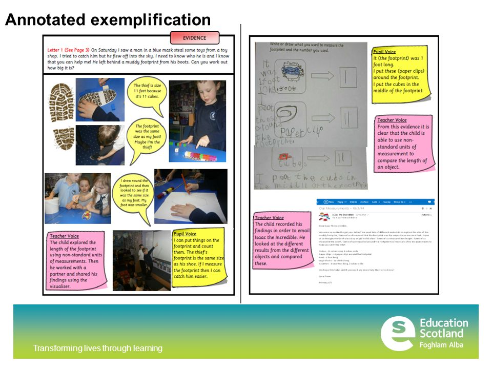 Transforming lives through learning Annotated exemplification