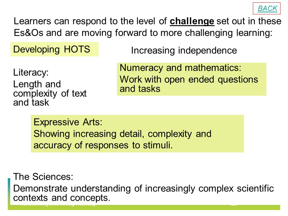 Transforming lives through learning Learners can respond to the level of challenge set out in these Es&Os and are moving forward to more challenging learning: Numeracy and mathematics: Work with open ended questions and tasks Literacy: Length and complexity of text and task Expressive Arts: Showing increasing detail, complexity and accuracy of responses to stimuli.