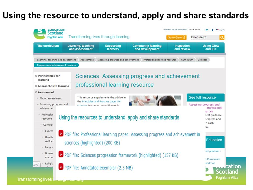 Transforming lives through learning Using the resource to understand, apply and share standards