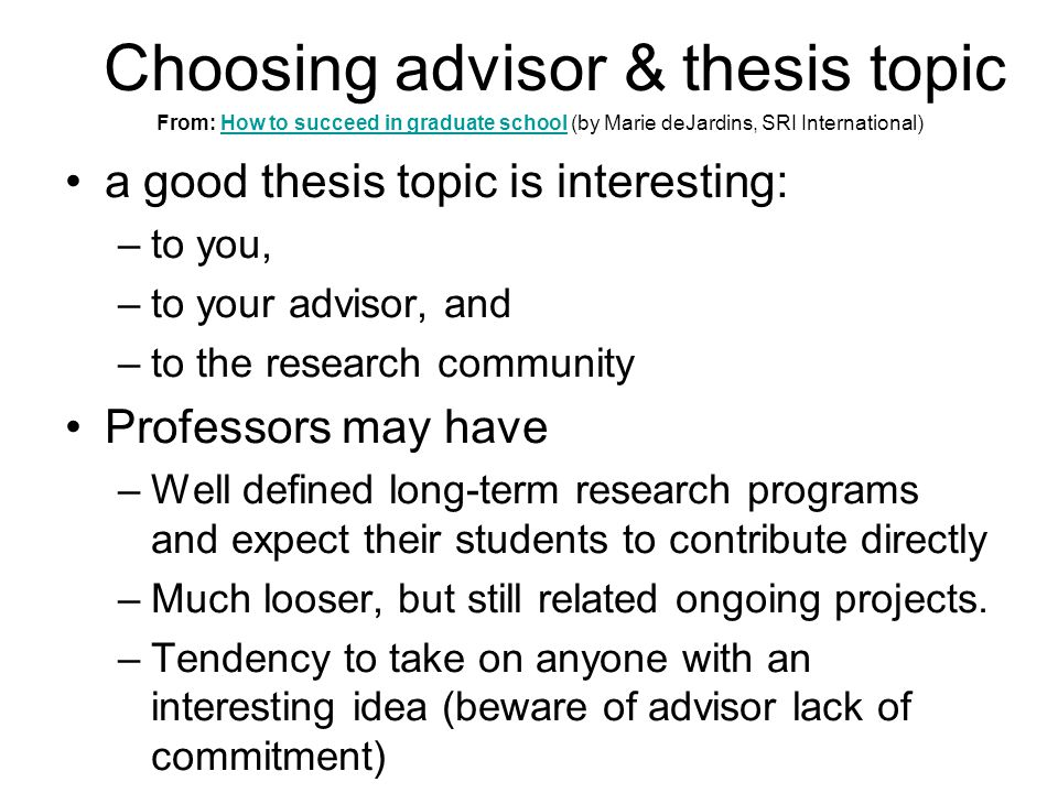 how to pick a research topic for graduate school