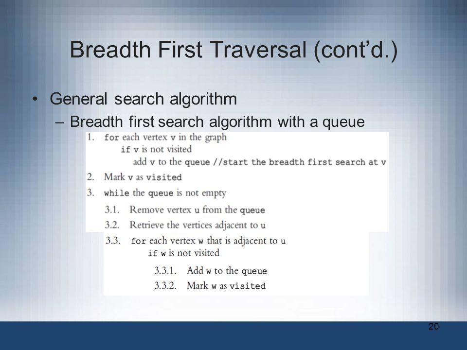 20 Breadth First Traversal (cont'd.) General search algorithm –Breadth first search algorithm with a queue