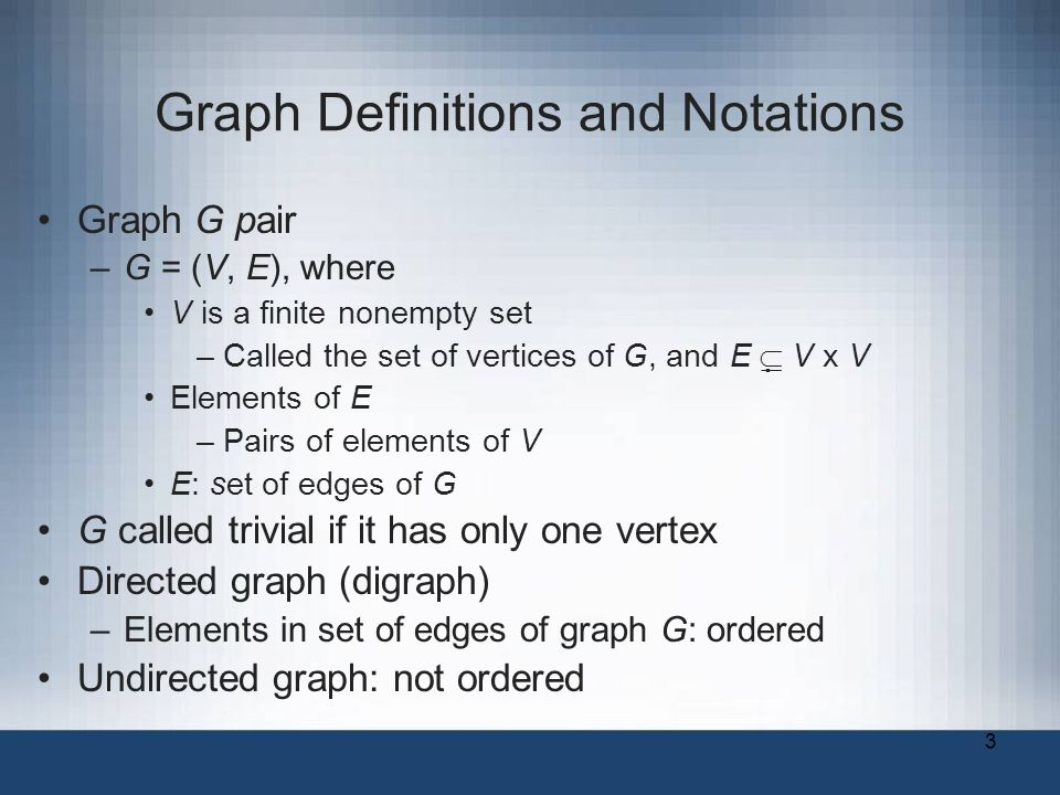 3 Graph Definitions and Notations Graph G pair –G = (V, E), where V is a finite nonempty set –Called the set of vertices of G, and E   V x V Elements of E –Pairs of elements of V E: set of edges of G G called trivial if it has only one vertex Directed graph (digraph) –Elements in set of edges of graph G: ordered Undirected graph: not ordered