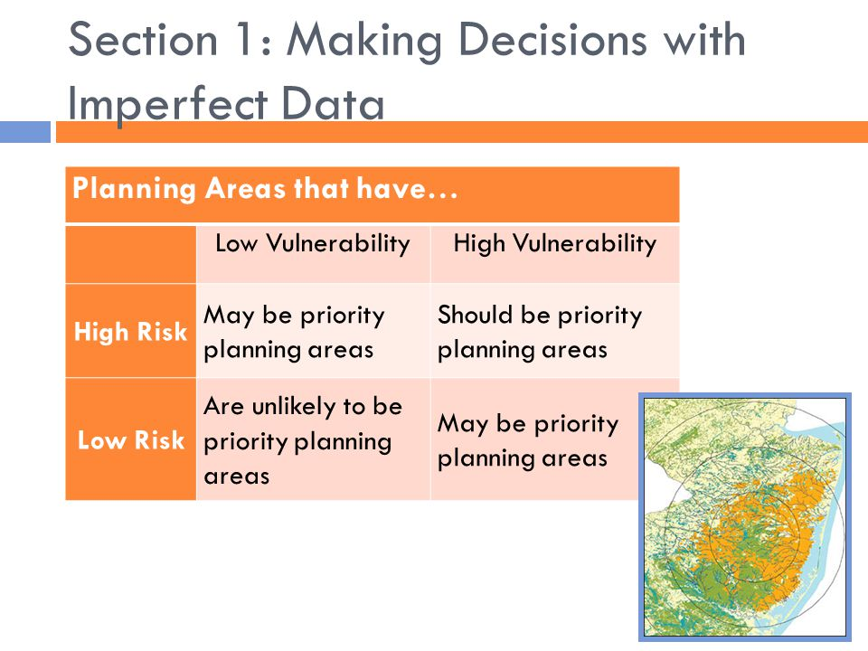 Section 1: Making Decisions with Imperfect Data Planning Areas that have… Low VulnerabilityHigh Vulnerability High Risk May be priority planning areas Should be priority planning areas Low Risk Are unlikely to be priority planning areas May be priority planning areas