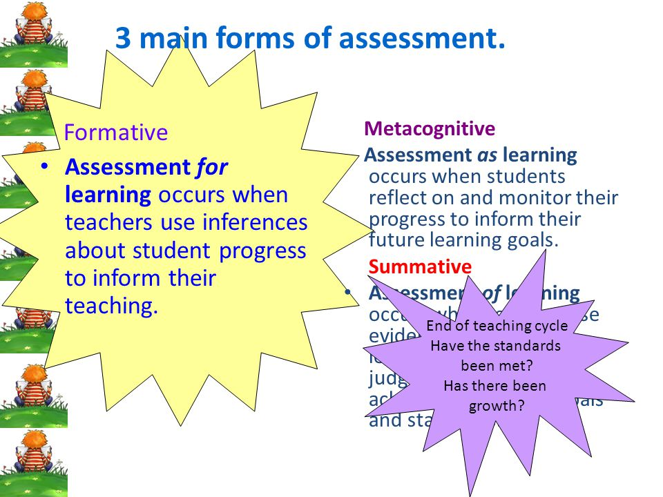 3 main forms of assessment.