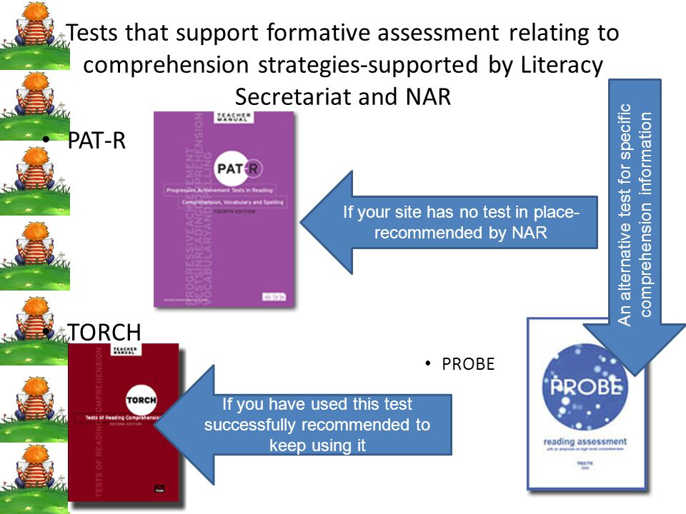 Tests that support formative assessment relating to comprehension strategies-supported by Literacy Secretariat and NAR PAT-R TORCH PROBE If your site has no test in place- recommended by NAR If you have used this test successfully recommended to keep using it An alternative test for specific comprehension information
