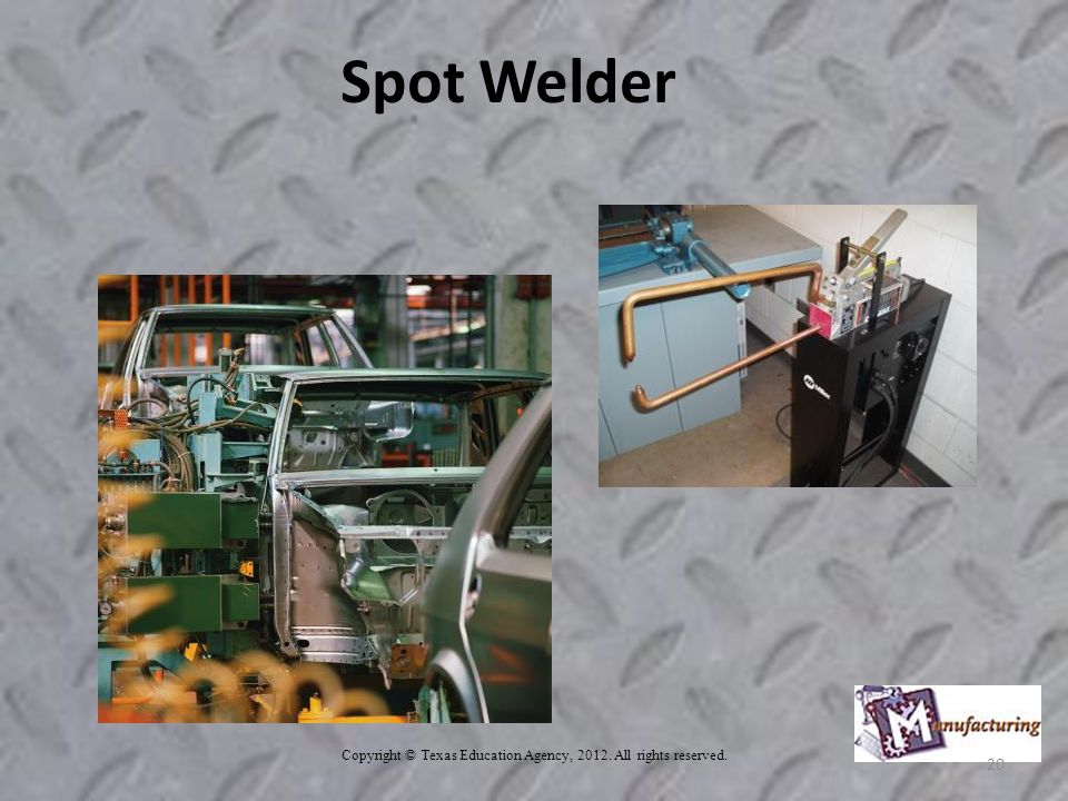 Copyright © Texas Education Agency, All rights reserved. 20 Spot Welder