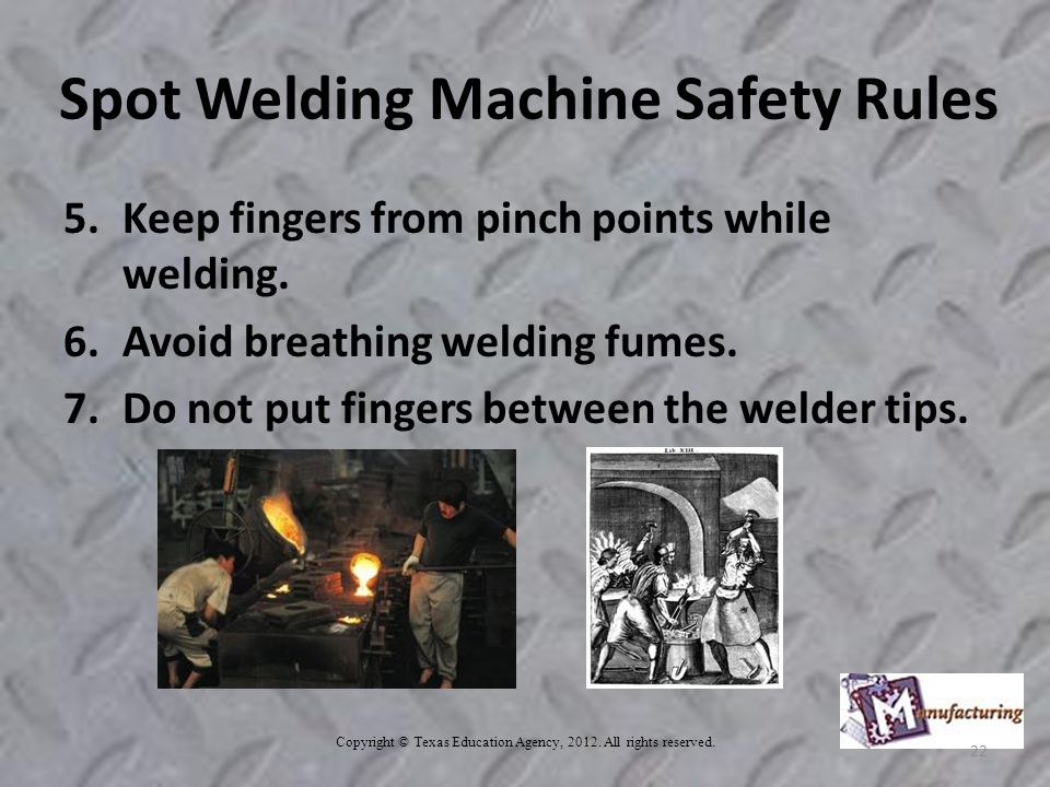Spot Welding Machine Safety Rules 5.Keep fingers from pinch points while welding.
