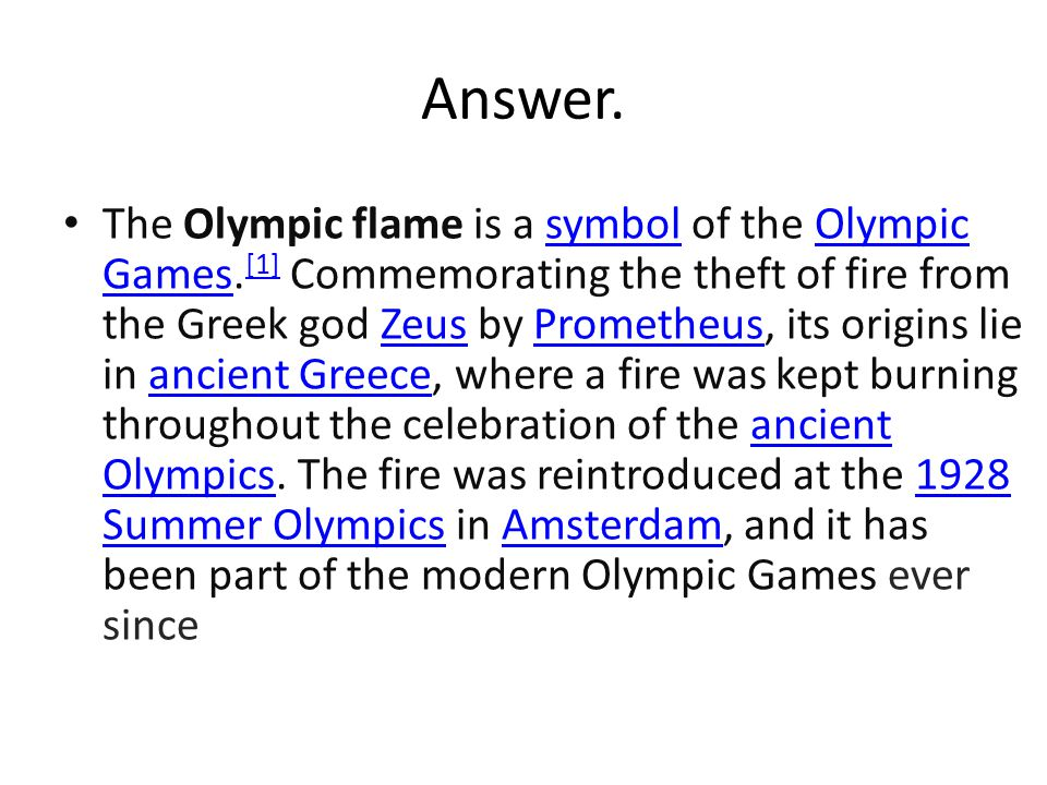 By Penitusi and Shalom  Question and answer about Olympic