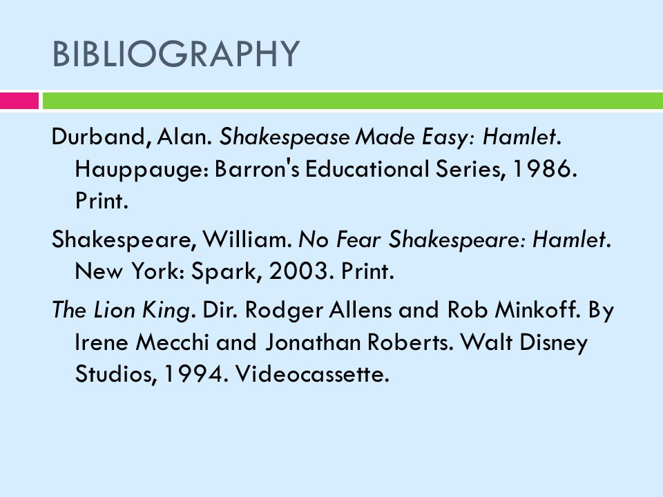 hamlet bibliography