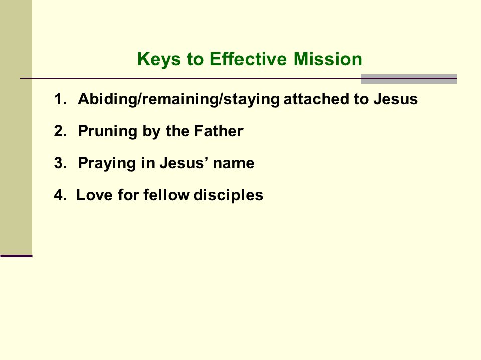Keys to Effective Mission 1.Abiding/remaining/staying attached to Jesus 2.Pruning by the Father 3.Praying in Jesus' name 4.