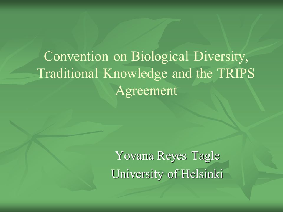 Convention On Biological Diversity Traditional Knowledge And The