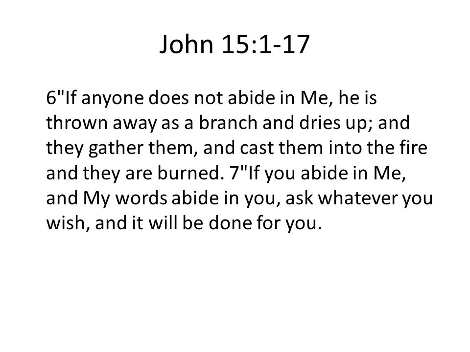 John 15: If anyone does not abide in Me, he is thrown away as a branch and dries up; and they gather them, and cast them into the fire and they are burned.