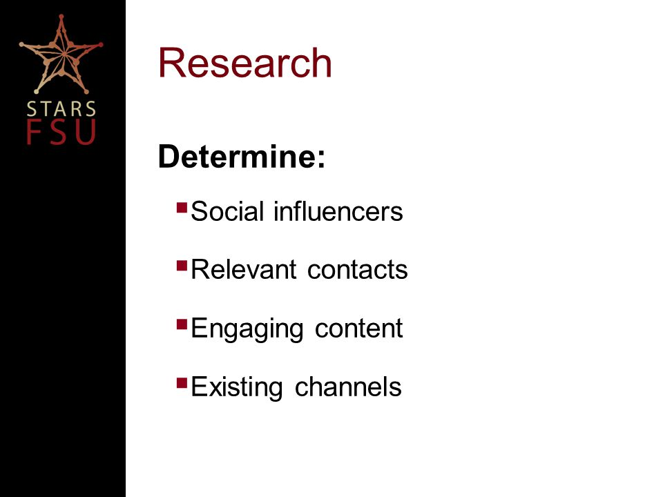 Research Determine:  Social influencers  Relevant contacts  Engaging content  Existing channels