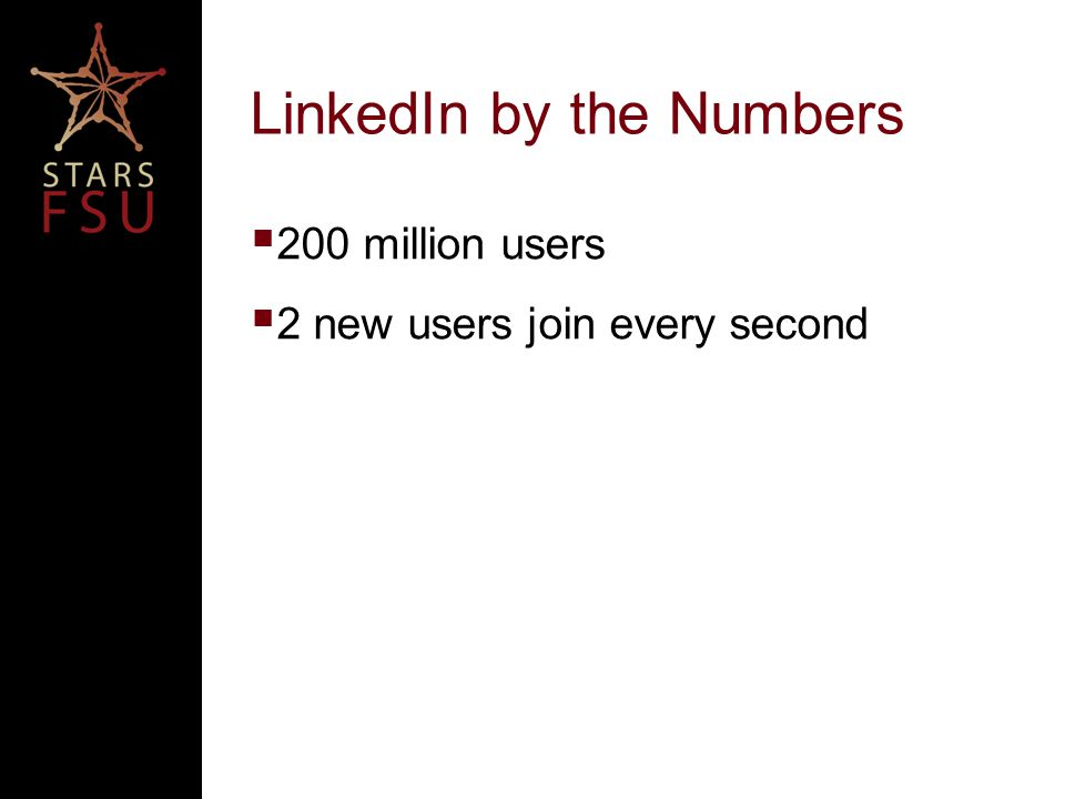 LinkedIn by the Numbers  200 million users  2 new users join every second